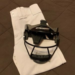 Fast pitch softball facemask & practice pants